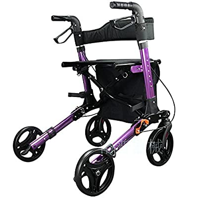 Aluminium Rollator Walker Foldable 4 Wheel Trolley Lightweight Walking Frame with Seat and Basket