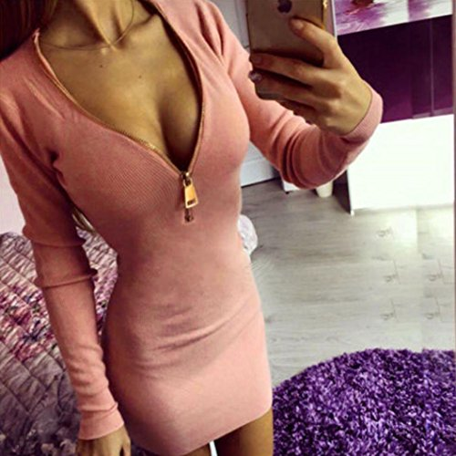 Vestito, Vovotrade® Donne sexy vestito con scollo a V Zip Inverno aderente partito Rosa