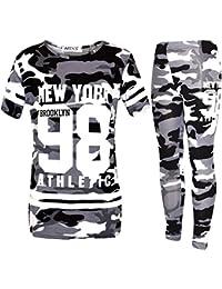Filles de New York Camouflage Camo Top Survêtement et leggings rose vert Âge 7-13 Ans