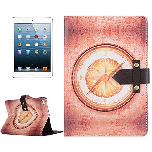 Tablettenetuis, Retro Style edle und elegante Segelboot und Taschenuhr Muster Horizontale Flip Ledertasche mit Halter & Echtleder Gürtel Fastener für iPad mini 4 ( Artikelnummer : S-MIP4D-1009J )