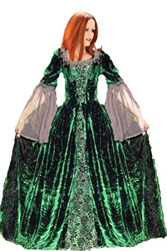 Dark Dreams Gothic Mittelalter LARP Kleid Dark Wedding, Farbe:grün, Größe:L