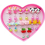TOYZHIJIA 7 Pairs Clip-on Earrings Girls Play Earrings with Earring Pad for Play Princess Birthday Party Favor