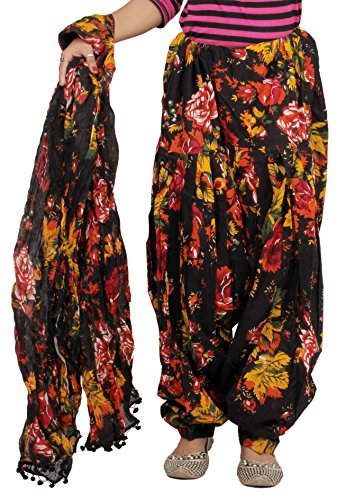 Jublee Women\'s Black Cotton Patiala with Dupatta Set