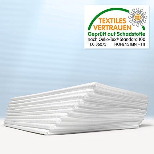 Waschfaserlaken ACTIV (300x waschbar) 10 St.+2 Laken GRATIS (80×210 cm, weiß) Waschvlies / Vlieslaken – OEKO-TEX® geprüft – ORIGINAL Dr. Güstel - 7