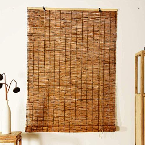 Koovin Bambus Raffrollo-Rollläden aus Schilf-Strohvorhang-Fenster Sichtschutz Rollos, Keine Grate, wetterfeste Jalousie für Innen/Außen