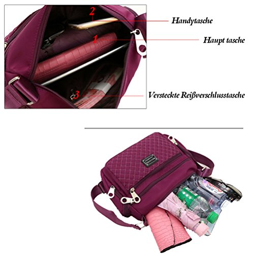 casuale Viola multi donne Borsa le Viola impermeabile tasca tracolla Honeymall a wfE1UqPx
