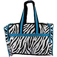Quilted Zebra Blue Print borsa da viaggio con fodera impermeabile e 3 tasche - ideale per lo shopping, le gite in spiaggia, palestra & Day