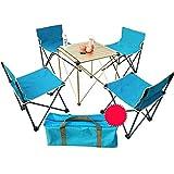 P&D Tavolo da Picnic Portatile Pieghevole per Campeggio all'aperto, Pieghevole Tavolo da Viaggio Portatile e Combinazione di sedie 52x52x55cm