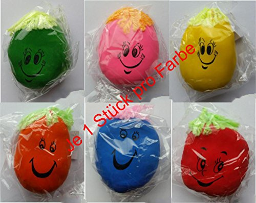 6 x Knautschgesicht 7cm, mit Wollhaaren, Stressball, Knetball, Antistressball
