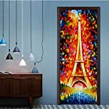 bhgedhd Waterproof Self Adhesive Door Stickers Bedroom Hand Painted Art Oil Painting Paris Tower Door Decoration Sticker Wall Mural 77 * 200Cm