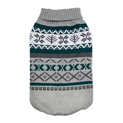 (Hmeng Haustier Hund Pullover, Puppy Hoodie Blatt Muster Pullover stricken Warme Hund Katze Thick Haustier Kleidung für Winter Hundemantel Wintermäntel (M, Grau))