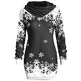 Riou Weihnachtskleid Pulloverkleid Damen Herbst Langarm Schneeflock Lang Gedruck Knielang Hoodie Sweatshirt Blouse Kleider (XL, Schwarz)