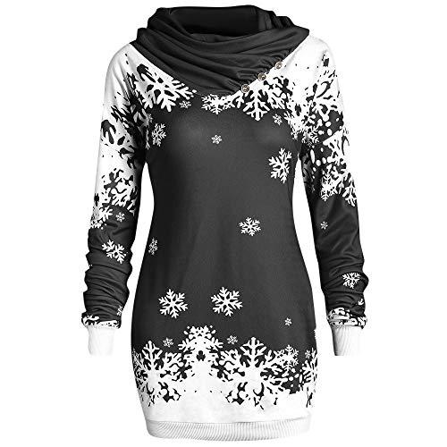 Riou Weihnachtskleid Pulloverkleid Damen Herbst Langarm Schneeflock Lang Gedruck Knielang Hoodie...