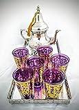 Mystery Souk - Juego de té marroquí (Plato, 6 Vasos y Tetera)