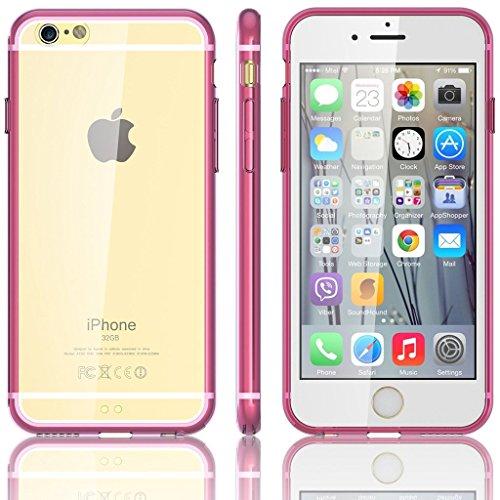 EASYPLACE® - Cover case - Telaio colorato e posteriore trasparente - FUCSIA - IPHONE 6 -Flessibile e resistente Rosa
