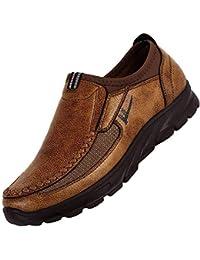 JiaMeng Zapatos Casuales para Hombres Otoño Invierno Scrub Leather Zapatos Transpirables Antideslizantes Deportivos Zapatos Inferiores Gruesos Casuales