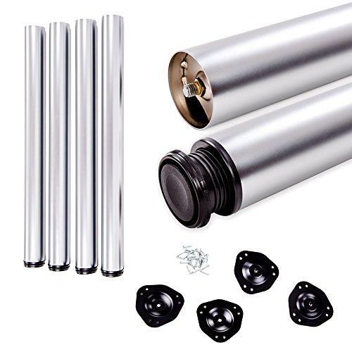 Juego de patas extensibles de mesa | Sossai® Estándar STBAL | Diseño: Aluminio | Altura regulable 710 mm + 20 mm | Set de 4 unidades