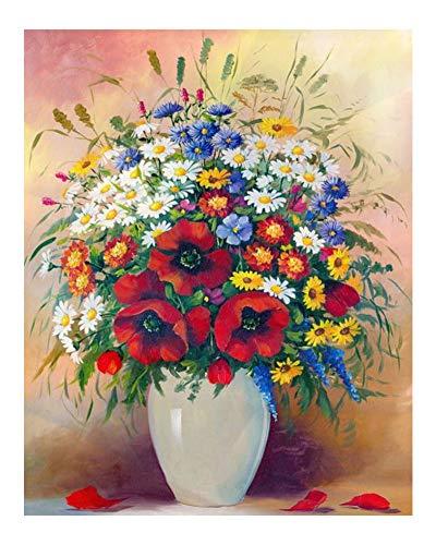 Wowdecor DIY Malen nach Zahlen Kits Geschenk für Erwachsene Kinder, Malen nach Zahlen Home Haus Dekor - Rot Mohn & Gänseblümchen Blumen Strauß 40 x 50 cm Ohne Rahmen (Mohn Küche Dekor)