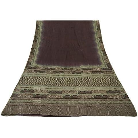 Vintage indiano Saree 100% pura seta blu stampata floreale Sari Craft Fabric 5 Yard