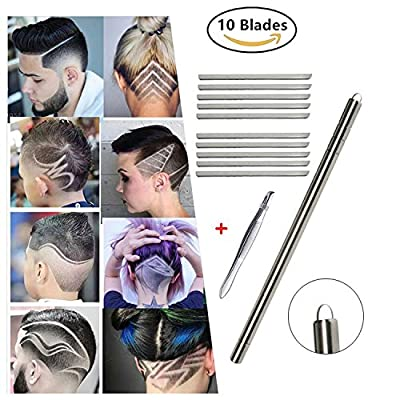 Hair Engraving Pen Eyebrow Shaping knife Hair Tattoo Hair Styling Tool Kit, Professional Hair Razor Tool for Engraving Patterns on the Hair with 10 Stainless Stell Blades and Tweezer from Oliva Spring