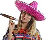 6 X MEXICAN SOMBRERO HATS 6 X MOUSTACHE 6 X FAKE JUMBO CIGAR STRAW COLOUR