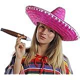 LADIES MEXICAN PINK SOMBRERO + MOUSTACHE + JUMBO CIGAR NOVELTY FANCY DRESS ACCESSORY FANCY DRESS COSTUME SET