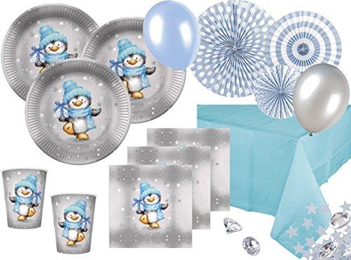Junge in Hellblau und Silber Deko Set für 16 Personen (Klar Blau Plastik Becher)