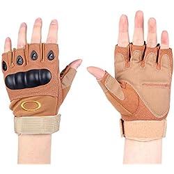 Half dedos Senderismo Guantes Guantes de táctica militar para hombre Deportes Guantes sin dedos Guantes de caza con cierre de velcro Adecuado para moto esquí guantes guantes, guantes de moto, color caqui, tamaño medium