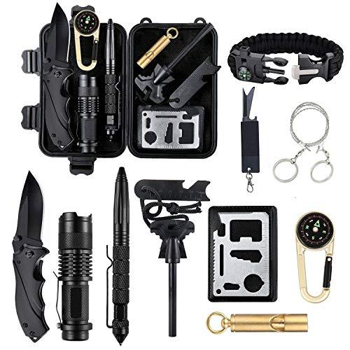 Yaer Survival kit 12 in 1, professionelle Survival-Kit, Kompass, Taschenlampe, Starter, Pfeife, Tactical Pen,Mehrzweck-Werkzeugkarte,¨¹berlebens-Armband, Wandern und Outdoor-Abenteuer (Für Auto Survival-kit)