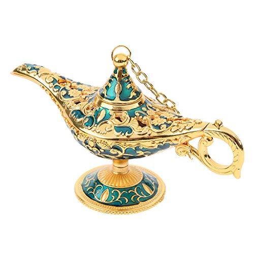 perfk Lámpara Clásica de Aladdin de Metal Decorativos Herramientas Industrial Suministro de Máquinas - Azul dorado