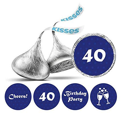 kung mit 190 Stück DIY Prost 40. Geburtstag Aufkleber Hershey Kisses Labels-Blau ()