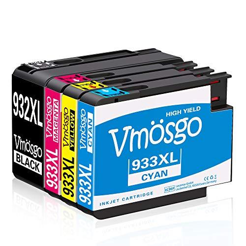 Vmosgo 932XL 933XL Patronen Ersatz für HP 932 933 Druckerpatronen Kompatibel mit HP Officejet 6100 6600 6700 7110 7610 7612 (1 Schwarz, 1 Cyan, 1 Magenta, 1 Gelb)