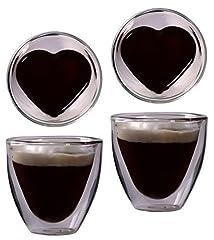 Idea Regalo - Feelino 2X 80ML A Doppia Parete A Forma Di Cuore Espresso e liquore vetro, Noble Thermo Occhiali con effetto ondulato, celissimo von, festa della mamma
