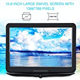 "PUMPKIN 18.9"" Portable DVD Player Kids with 15.6"" 270° Swivel Screen Built in 7 Hours Large Rechargeable Capacity Battery Support Multi Region USB/SD/MMC Direct Play"