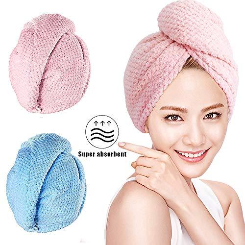 O-Kinee Turban Handtuch, Haartrockentuch mit Knopf, Mikrofaser Haarturban, Schnell Trocknend Verdickt Wrap Turban 2er Set, für Alle Haartypen (Pink + Blau)