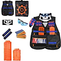Tactical vest Kit for Kids for Nerf Guns N-Strike Elite Series, with 50pcs Refill Bullets, 2pcs Reload Clips, 2pcs Wrist, Face Mask, Scarf, bullet storage bags and Protective Glass