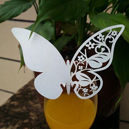 20Stück weiß 3D Schmetterling Tischkarten Glas Laser-Cut Hochzeit Party Home Dekoration Hochzeit Verlobung Party für