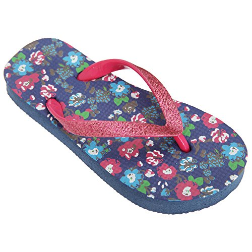 FLOSO® Childrens/Girls Floral Toe Post Flip Flops With Glitter Strap (2-3 UK) (Navy)