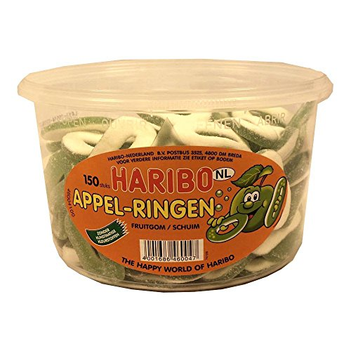 Haribo Appel-Ringen 150 Stck. Runddose IMPORT (Fruchtgummi Apfelringe)