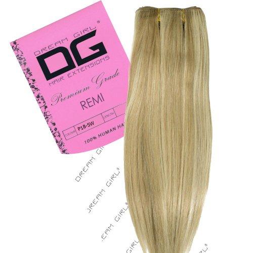Dream Girl Extensions en cheveux Remi Couleur 18/Blanche-Neige 40,6 cm