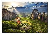 Berger Designs - Wandbild auf Leinwand als Kunstdruck in verschiedenen Größen. Meteora Gebirge in Grichenland. Beste Qualität aus Deutschland (60 x 40 cm BxH)