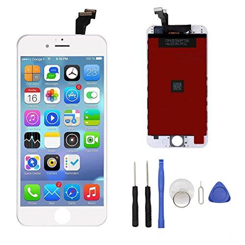 Iphone6-screen-ersatz (Display für iPhone 6 Bildschirm Ersatzset für iPhone 6 Display LCD Touchscreen Digitizer Frame-Montage (freies Tool Kit) (Weiß))