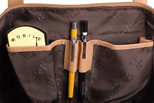 Schultertasche Tote Leder Othello 9101 von Gigi - GRÖßE: B: 33 cm, H: 33 cm, T: 10 cm Hellbraun