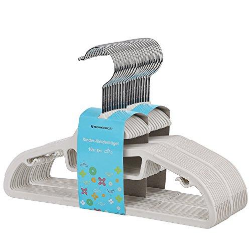 SONGMICS Perchas Infantiles Plástico Set de 20 Abertura en Forma de S Tiras Antideslizantes 30 cm Gancho Giratorio a 360° Blanco CRP30W