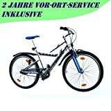 MIFA Mountainbike 26 Zoll Alu 7 Gang Nexus RH 43 cm Fahrrad blau mit StVZO Ausstattung für Jugendliche und Erwachsene