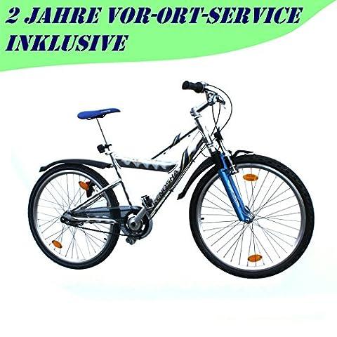 Mountainbike 26 Zoll Alu 7 Gang Nexus RH 43 cm Fahrrad blau mit StVZO Ausstattung für Jugendliche und