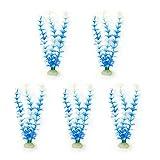 Sourcingmap Lot de 5 embouts pour Aquarium Bleu Sourcingmap Plante en plastique à herbe Blanc