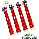 Oral-Q - Juego de recambios de cabezales para cepillo de dientes eléctrico de niños, para cepillo Braun Oral-B (EB10-4), 4pcs Color al azar