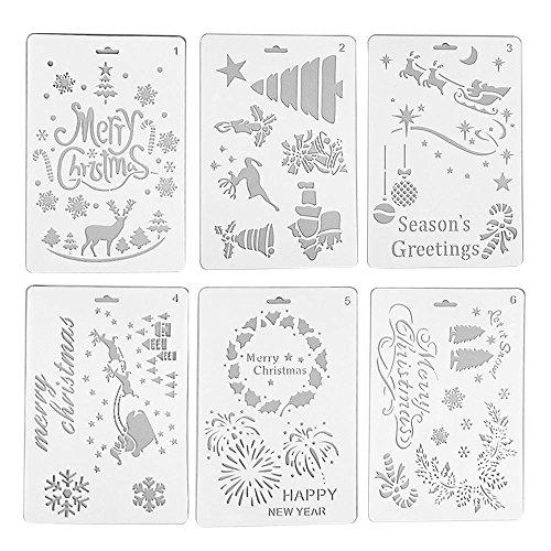 Lumisun Natale Fai da Te Decorazione Stencil Template Set, Disegno Stencil Scala Modello per Pittura su Legno pareti mobili Crafts Scrapbooking