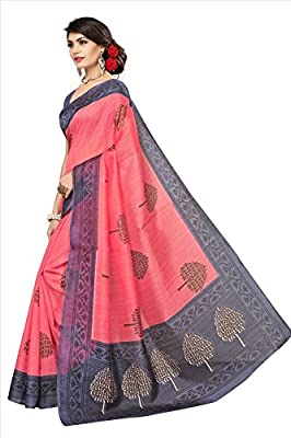 Fabwomen Women's Cotton Silk Saree with Blouse Piece, Free Size (Pink)